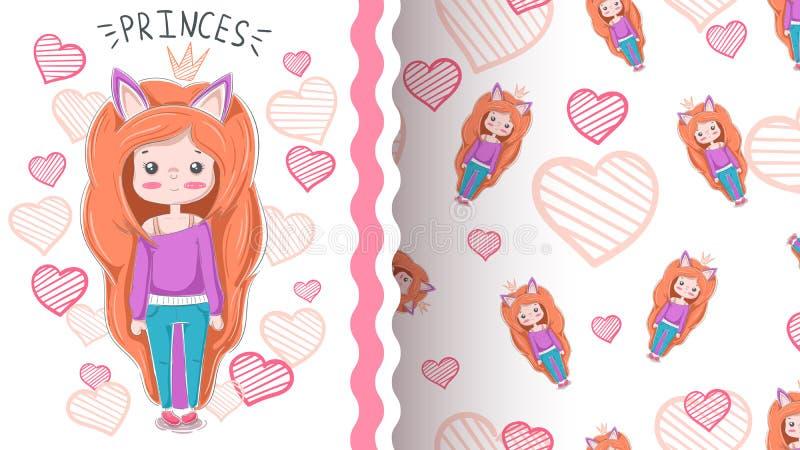 Śliczna kreskówki dziewczyna - bezszwowy wzór ilustracja wektor