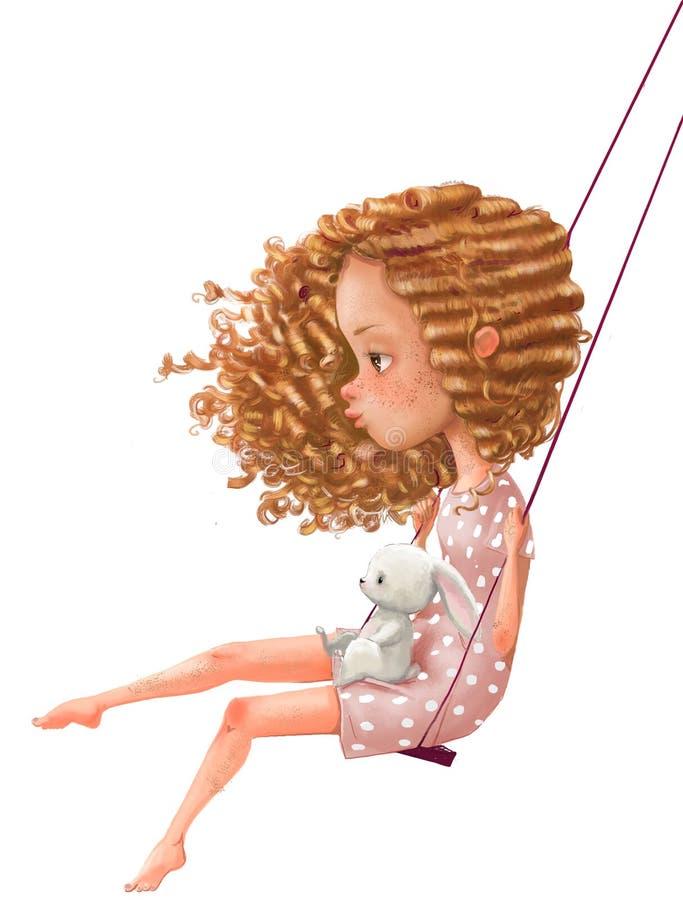 Śliczna kreskówki dziewczyna na huśtawce z zając obrazy stock