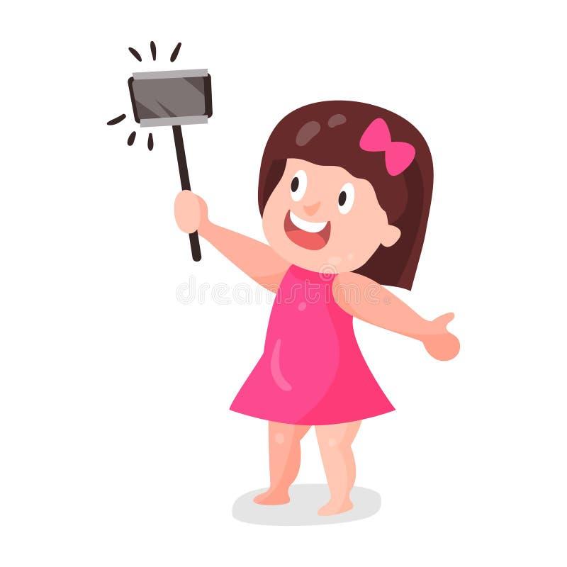 Śliczna kreskówki dziewczyna w menchii smokingowym robi selfie z kija charakteru kolorową ilustracją royalty ilustracja