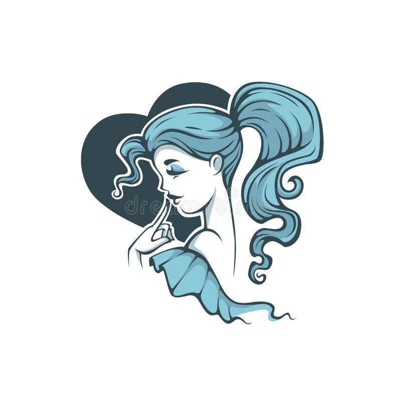 Śliczna kreskówki dziewczyna z błękitnym włosy na kierowym kształta tle dla, ilustracji