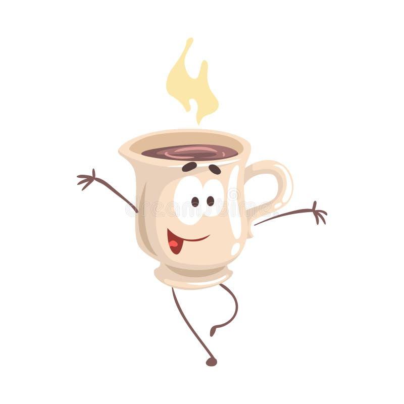 Śliczna kreskówki filiżanka kawy z smiley twarzą, śmieszna fasta food charakteru wektoru ilustracja royalty ilustracja