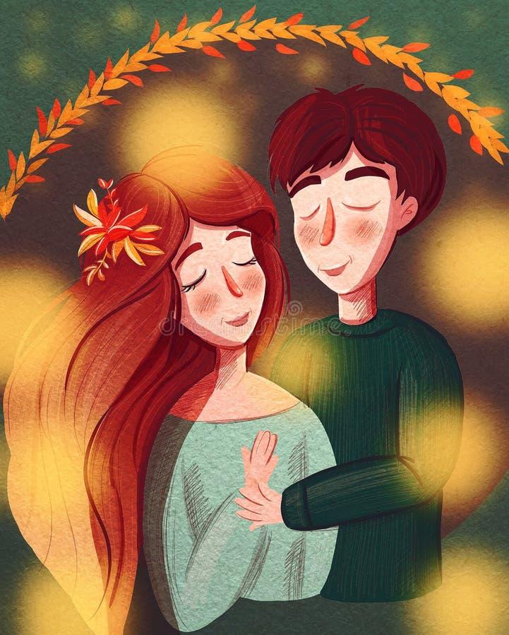 śliczna kreskówki ilustracja młoda kobieta i mężczyzna w miłości royalty ilustracja