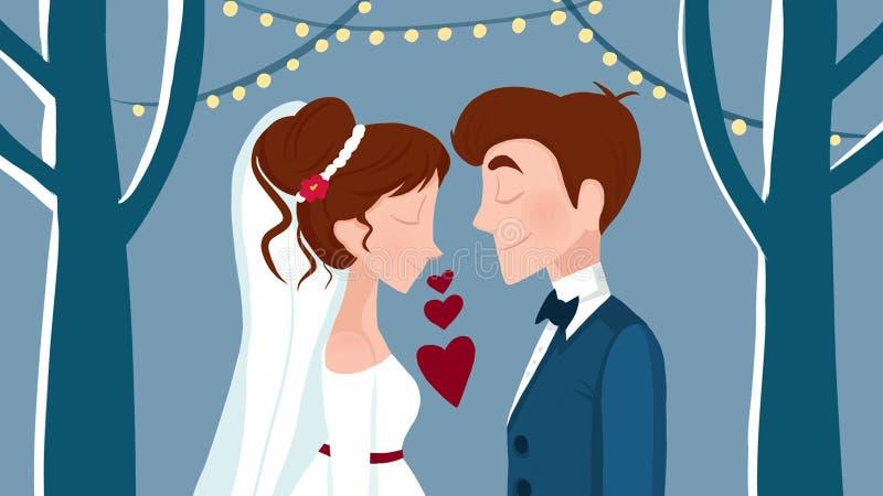 śliczna kreskówki ilustracja młoda kobieta i mężczyzna w miłości ilustracja wektor