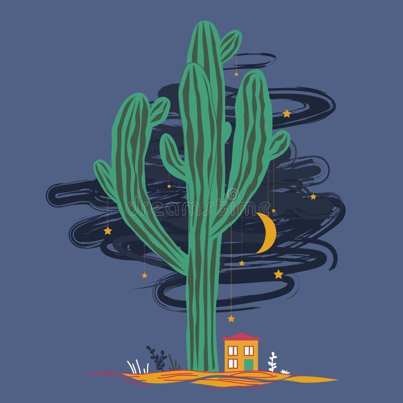 Śliczna kreskówki ilustracja z wysokim saguaro kaktusem i liitle domem Meksykański czarodziejka krajobraz, druk dla kart lub tkan royalty ilustracja