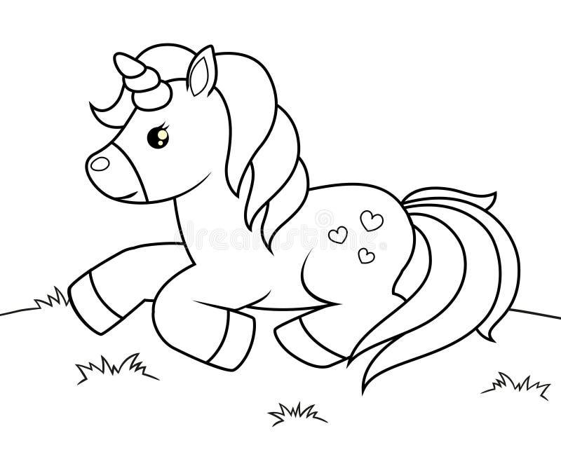 śliczna kreskówki jednorożec Czarny i biały wektorowa ilustracja dla kolorystyki książki royalty ilustracja