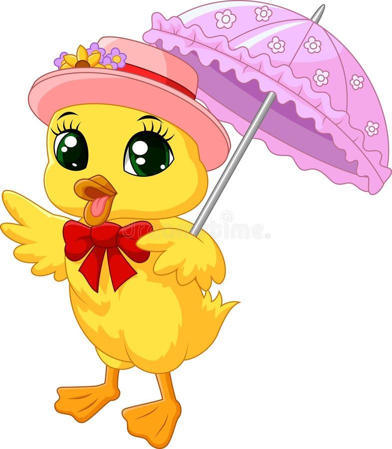 Śliczna kreskówki kaczka z różowym parasolem ilustracja wektor