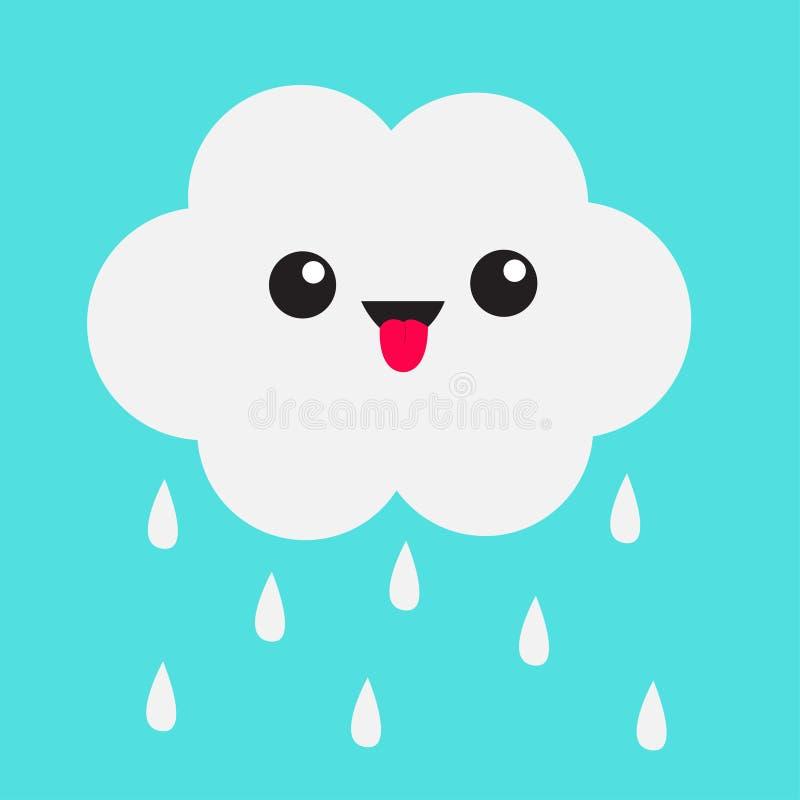 Śliczna kreskówki kawaii chmura z podeszczowymi kroplami Pokazywać jęzor emocję Oczy i usta odosobniony błękitne niebo tła Dzieck royalty ilustracja