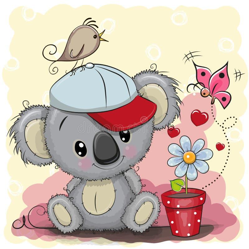 Śliczna kreskówki koala z kwiatem royalty ilustracja