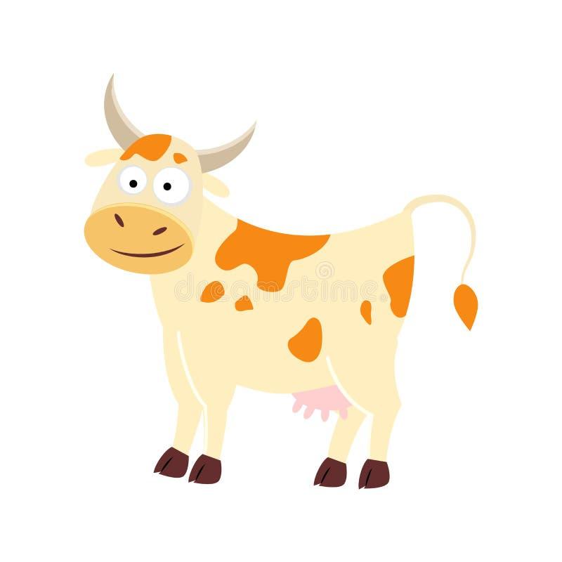 śliczna kreskówki krowa pojedynczy białe tło Wektorowy illustrat royalty ilustracja