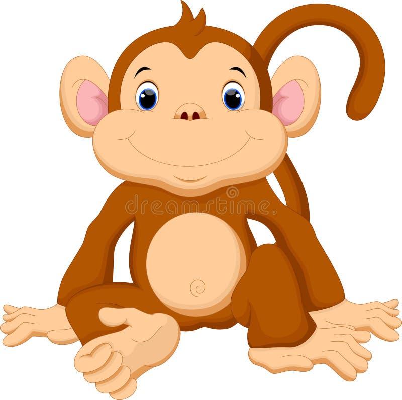 śliczna kreskówki małpa ilustracja wektor