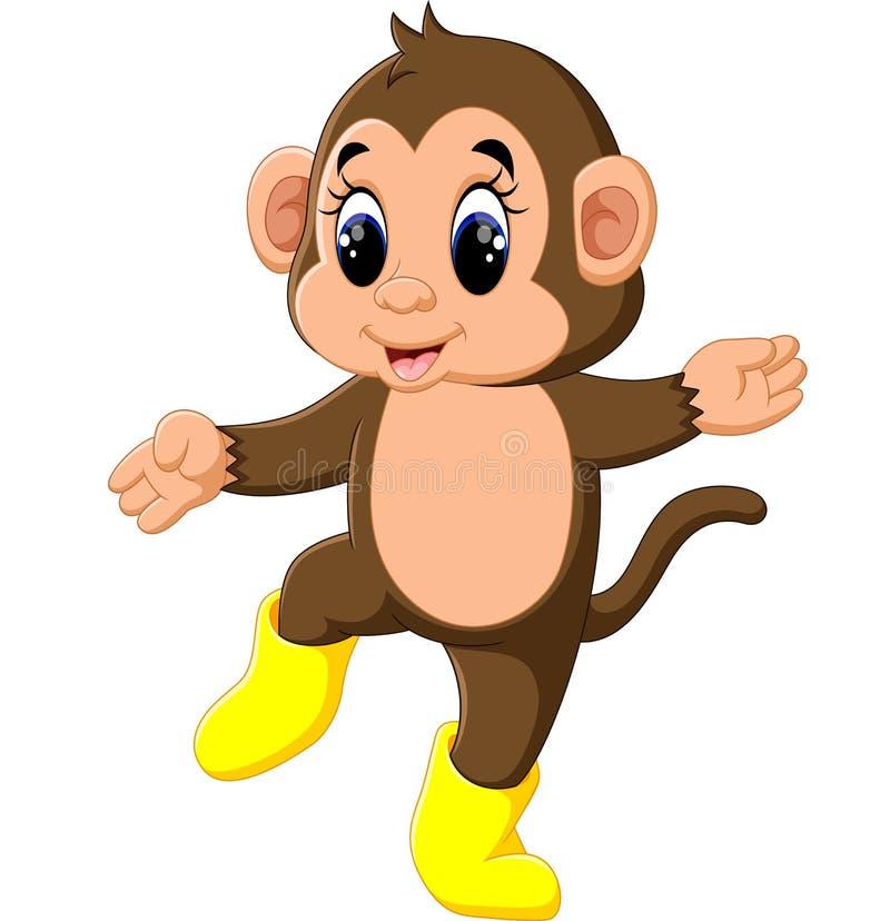 Śliczna kreskówki małpa ilustracji