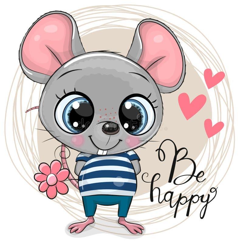 ?liczna kresk?wki mysz z kwiatami ilustracji