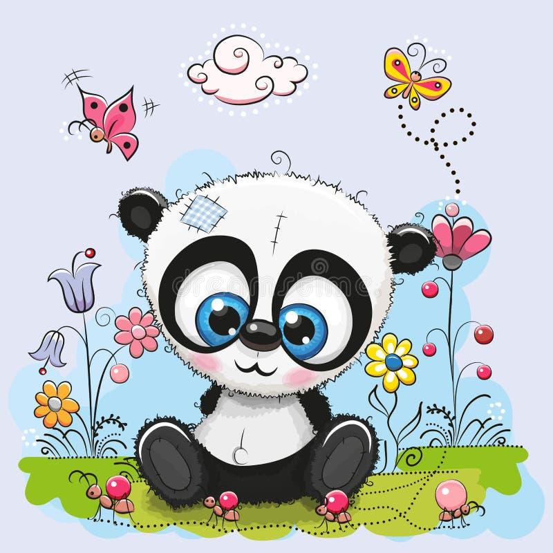 Śliczna kreskówki panda z kwiatami i motylami royalty ilustracja