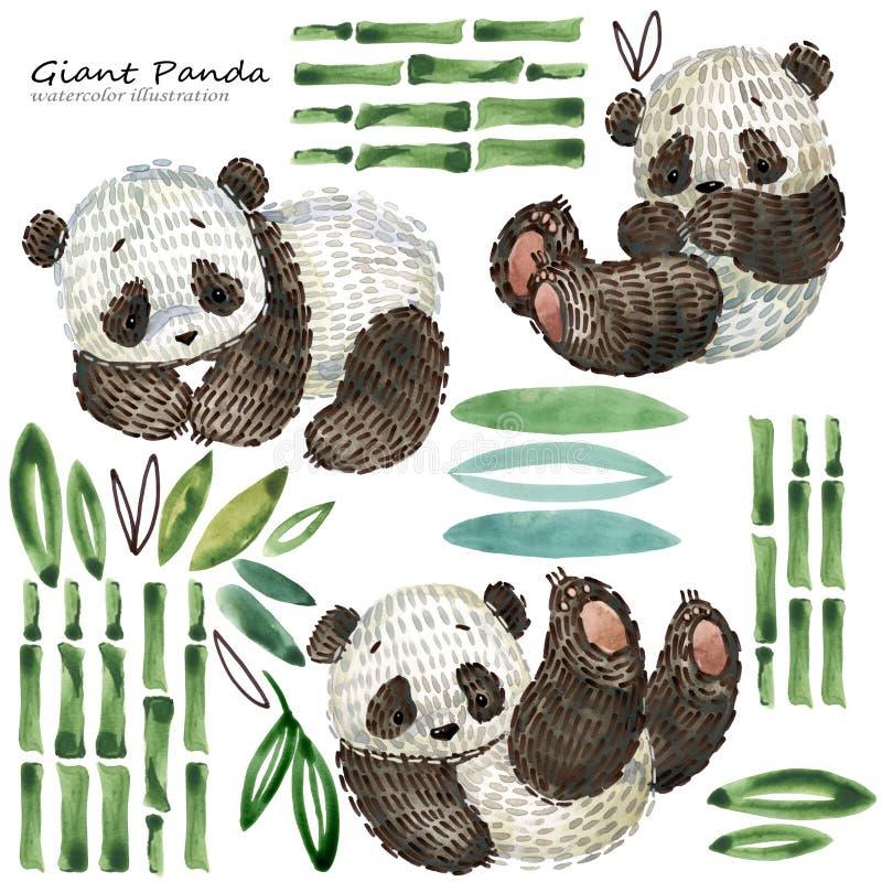 Śliczna kreskówki pandy akwareli ilustracja ilustracji