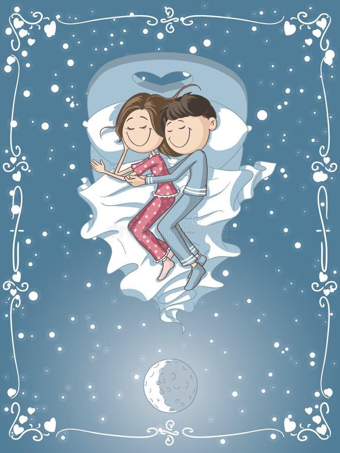 Śliczna kreskówki para Cuddles w łóżku ilustracja wektor