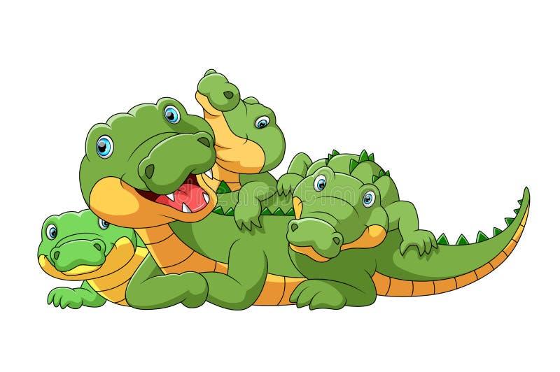 Śliczna kreskówki rodzina bawić się wpólnie krokodyl ilustracja wektor