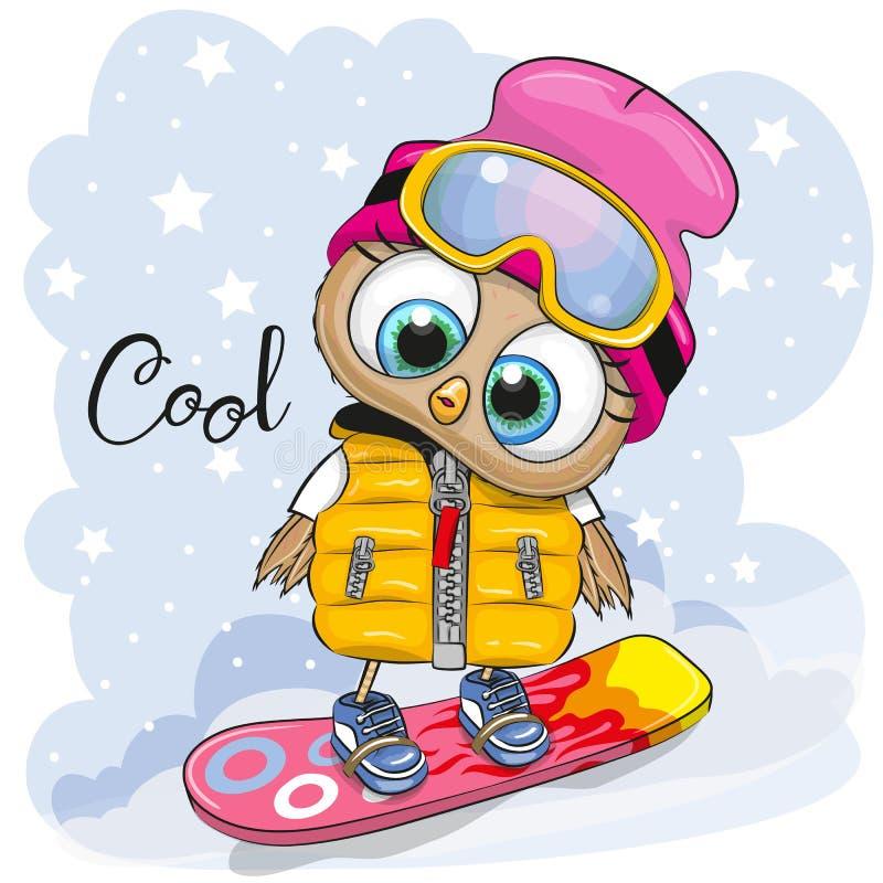 Śliczna kreskówki sowa na snowboard royalty ilustracja