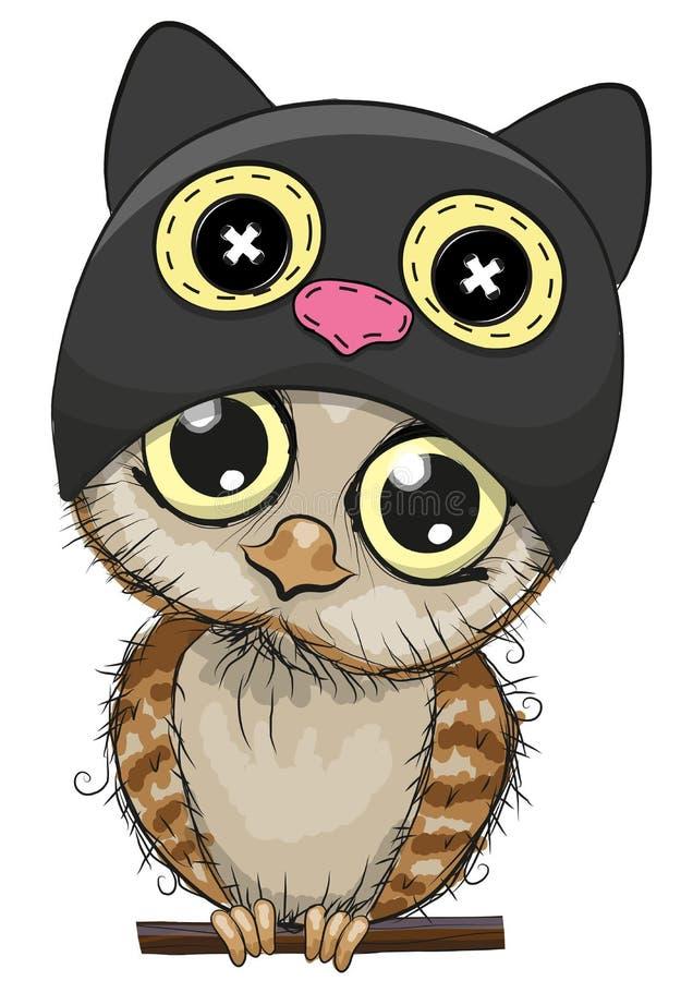 Śliczna kreskówki sowa w kota kapeluszu royalty ilustracja