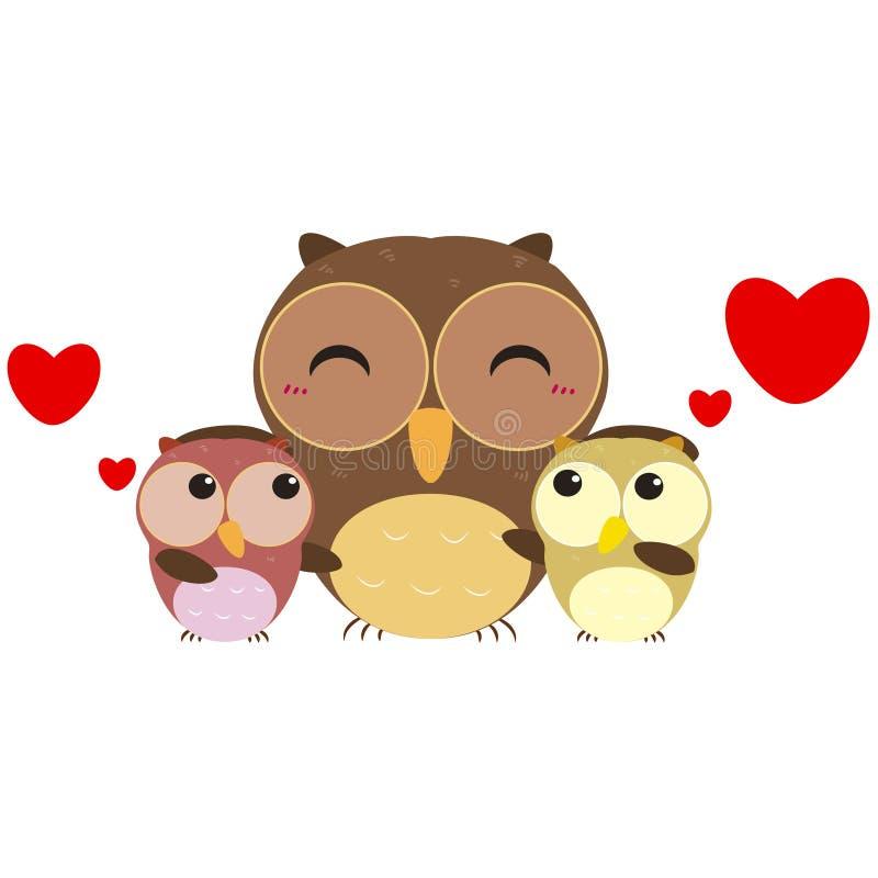 Śliczna sowy rodzina ilustracji