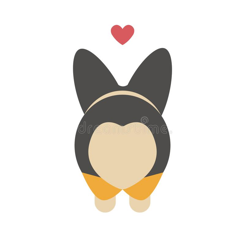Śliczna kreskówki walentynki karta dla twój ukochany jeden Uroczy Corgi psa krupon w postaci serca Zwierzęcy druk, majcher lub royalty ilustracja