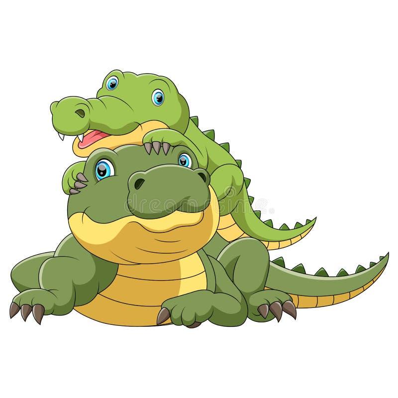 Śliczna krokodyl matka z dziecko krokodylem ilustracja wektor