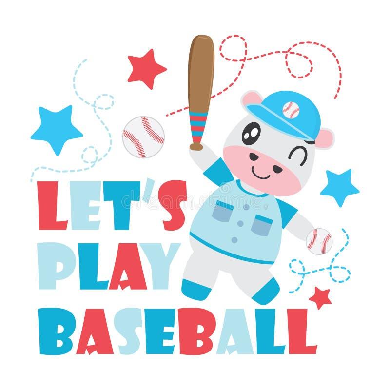 Śliczna krowa bawić się baseball kreskówki ilustrację dla dzieciak koszulki tła projekta ilustracja wektor