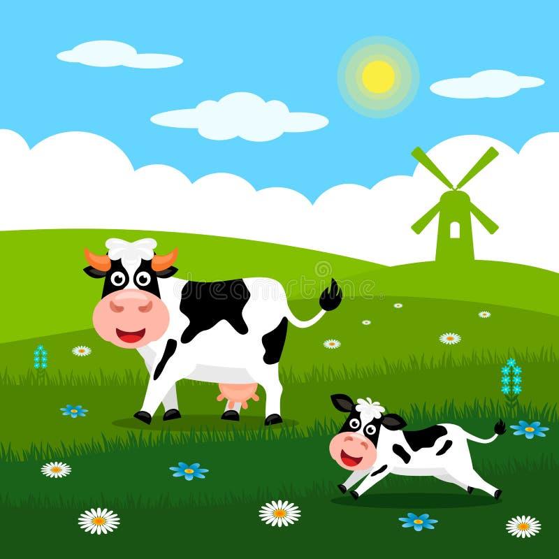 Śliczna krowa i śmieszne łydki pasamy na zielonej trawie na tle krajobraz, gospodarstwo rolne i młyny wiejscy lata, Płaski wektor ilustracji