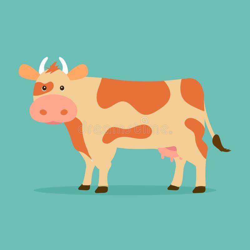 Śliczna krowa odizolowywająca na błękitnym tle Wektorowa ilustracja w kreskówka projekta płaskim stylu ilustracji
