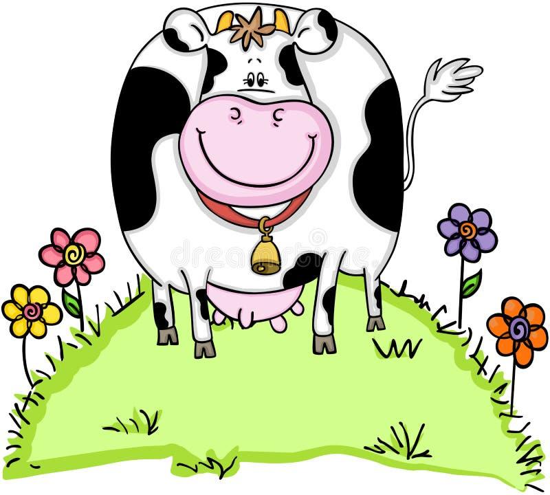 Śliczna krowa w zielonej trawie z kwiatami royalty ilustracja