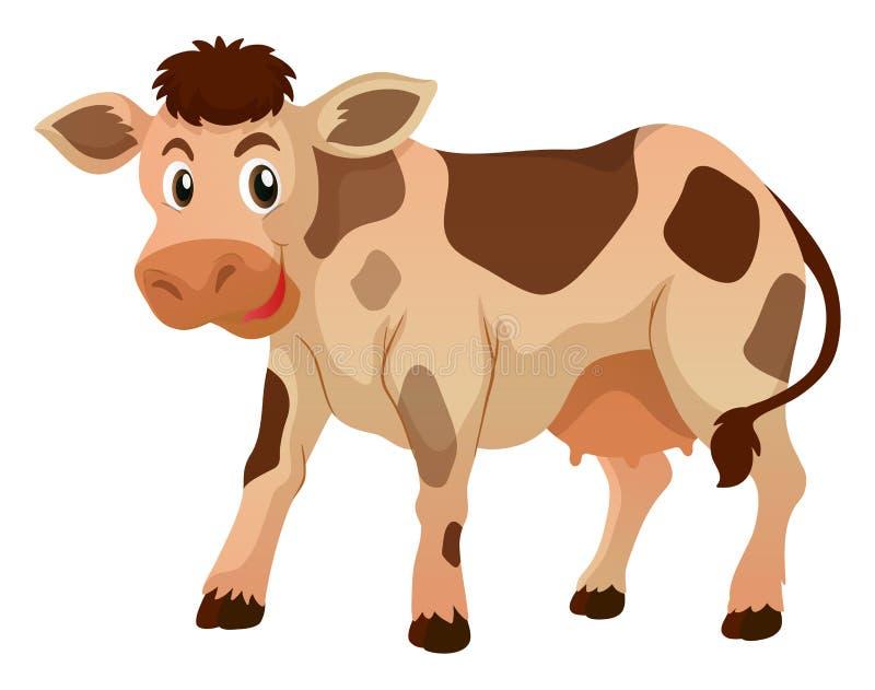 Śliczna krowy pozycja na białym tle ilustracja wektor