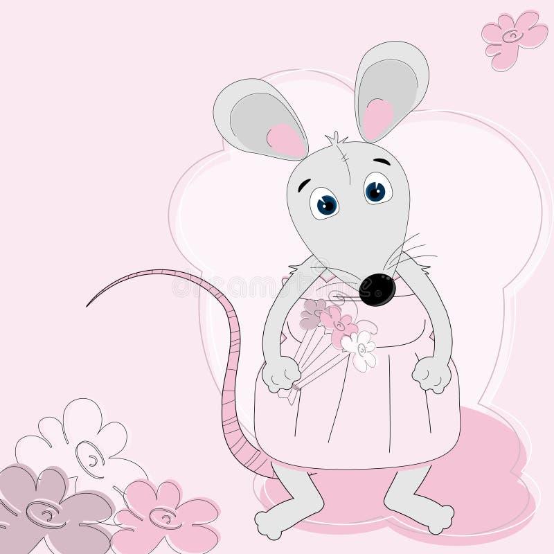śliczna kwiatów dziewczyny mysz royalty ilustracja