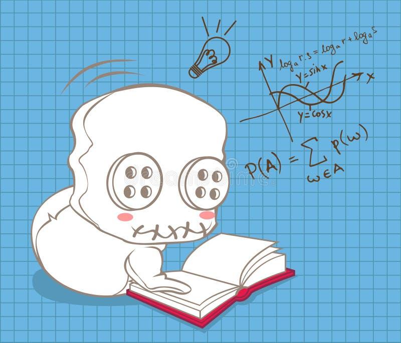 Śliczna lala uczy się matematykę ilustracji