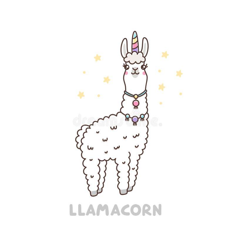 Śliczna lama w jednorożec kostiumu Llamacorn śmieszni kalambury, jednorożec i lama -, ilustracji