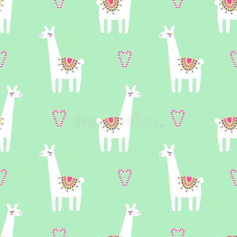 Śliczna lama z cukierek trzciny kierowym bezszwowym wzorem na mennicy zieleni tle ilustracji