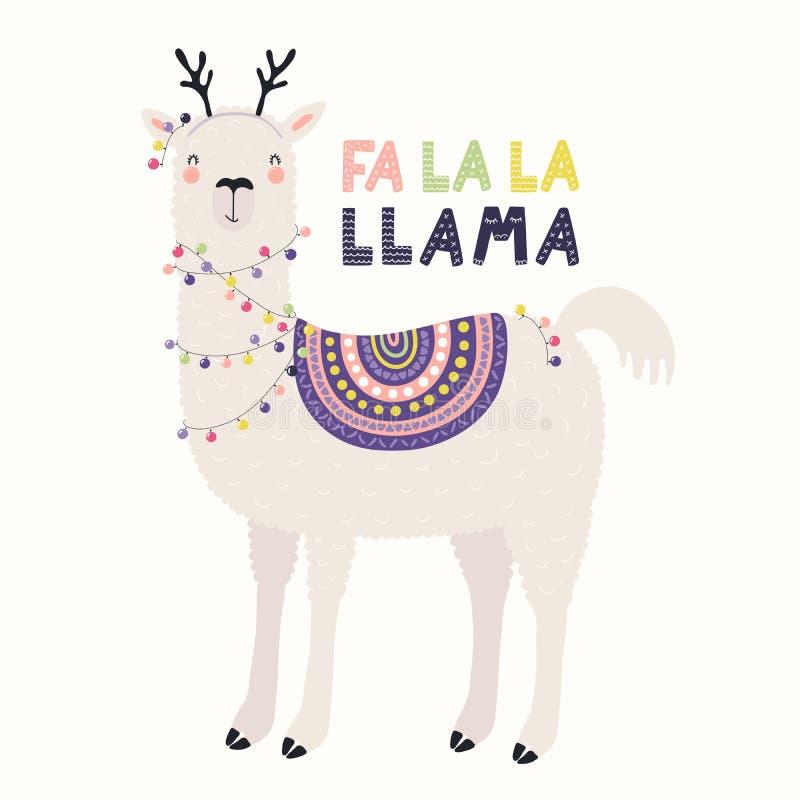 Śliczna lamy kartka bożonarodzeniowa royalty ilustracja