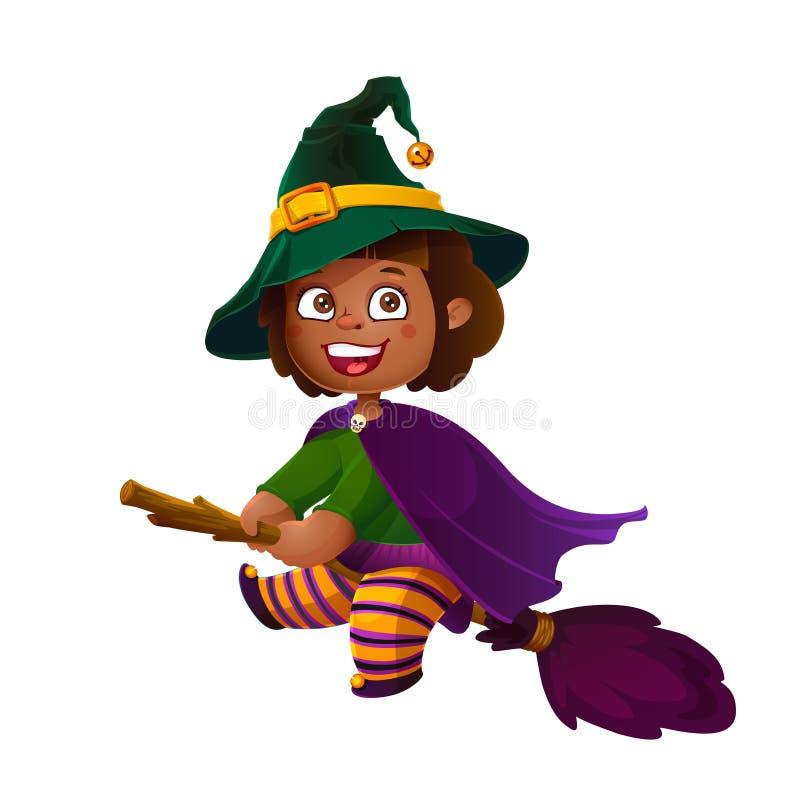 Śliczna Latina dziewczyny czarownica na miotle szczęśliwego halloween Trikowy lub funda, kreskówki ilustracja ilustracja wektor