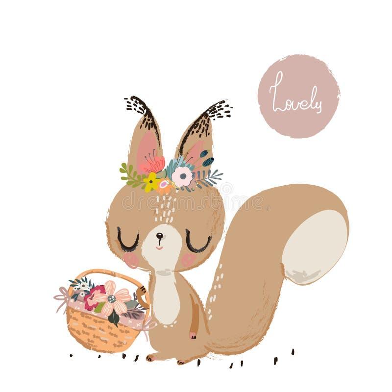 Śliczna lato wiewiórka ilustracja wektor