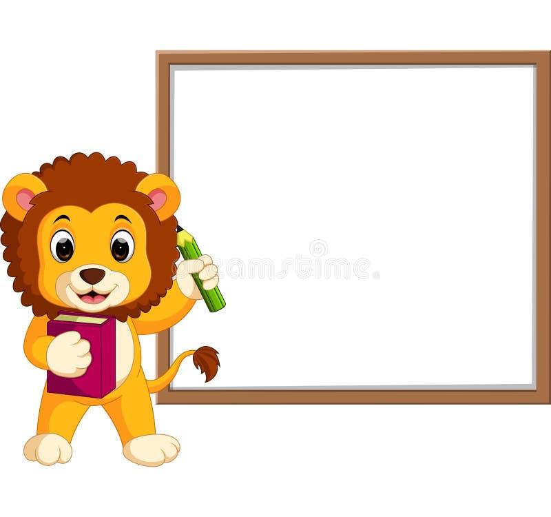 Śliczna lew kreskówka z whiteboard ilustracja wektor