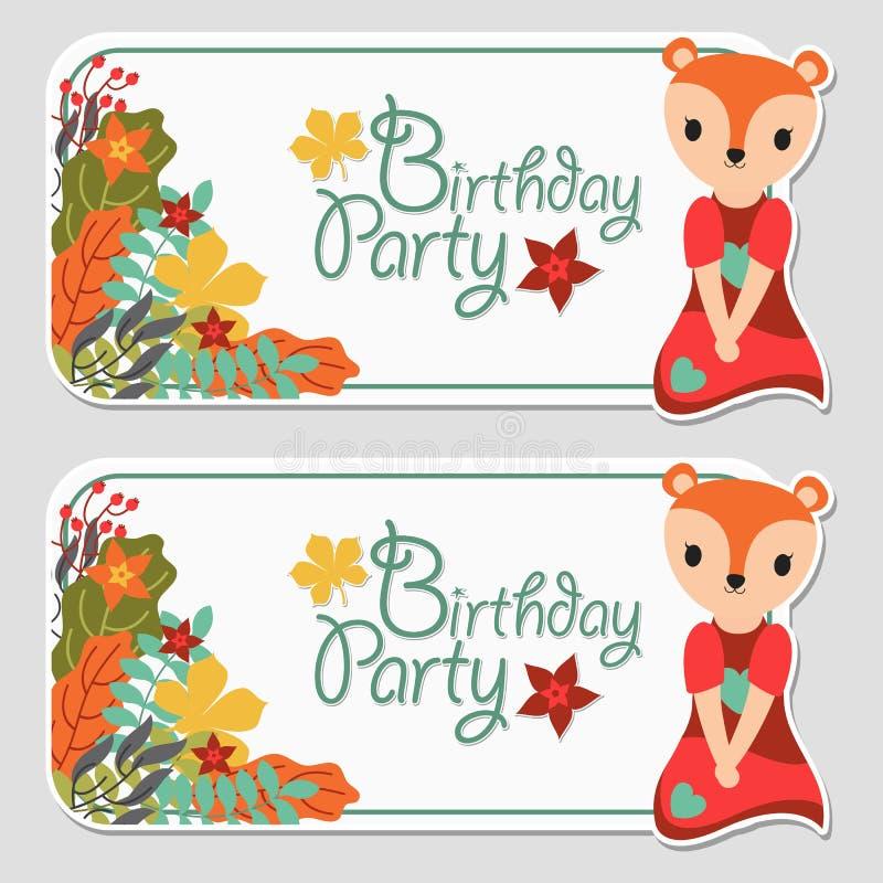 Śliczna lis dziewczyna i jesieni kwiecisty stosowny dla urodzinowego etykietka projekta ilustracji