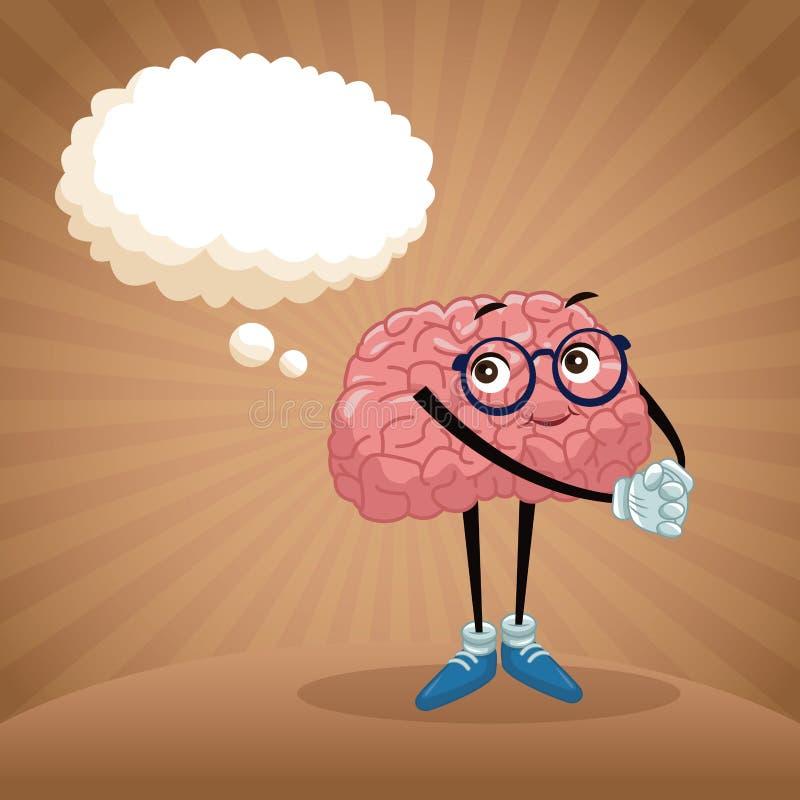 Śliczna móżdżkowa kreskówka ilustracja wektor