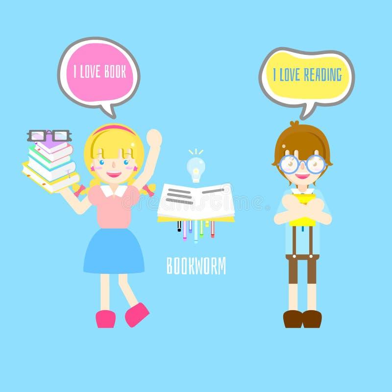 Śliczna mól książkowy chłopiec, dziewczyna z i kocham książkę i czytelniczego teksta pudełka mowy bąbel w błękitnym tle ilustracja wektor
