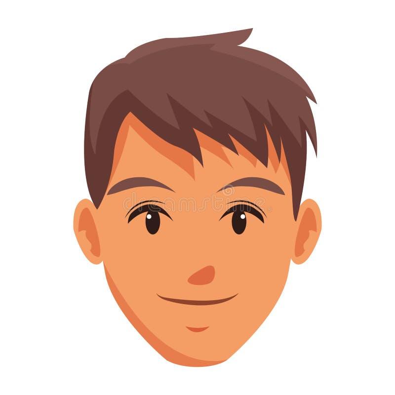 Śliczna mężczyzna twarzy kreskówka ilustracja wektor