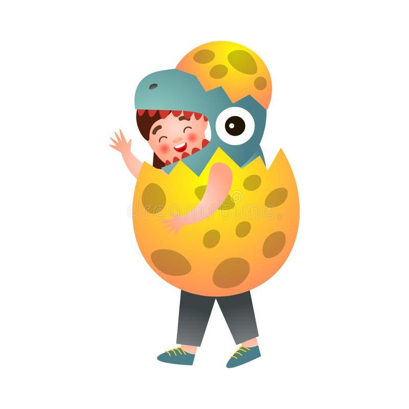 Śliczna młoda chłopiec w kostiumu dinosaur który wychodzi od eggshell ilustracji