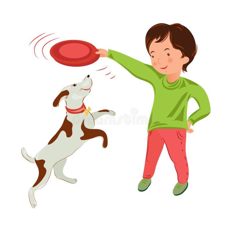 Śliczna młoda chłopiec w zielonej pulower sztuce z domowym psem ilustracji