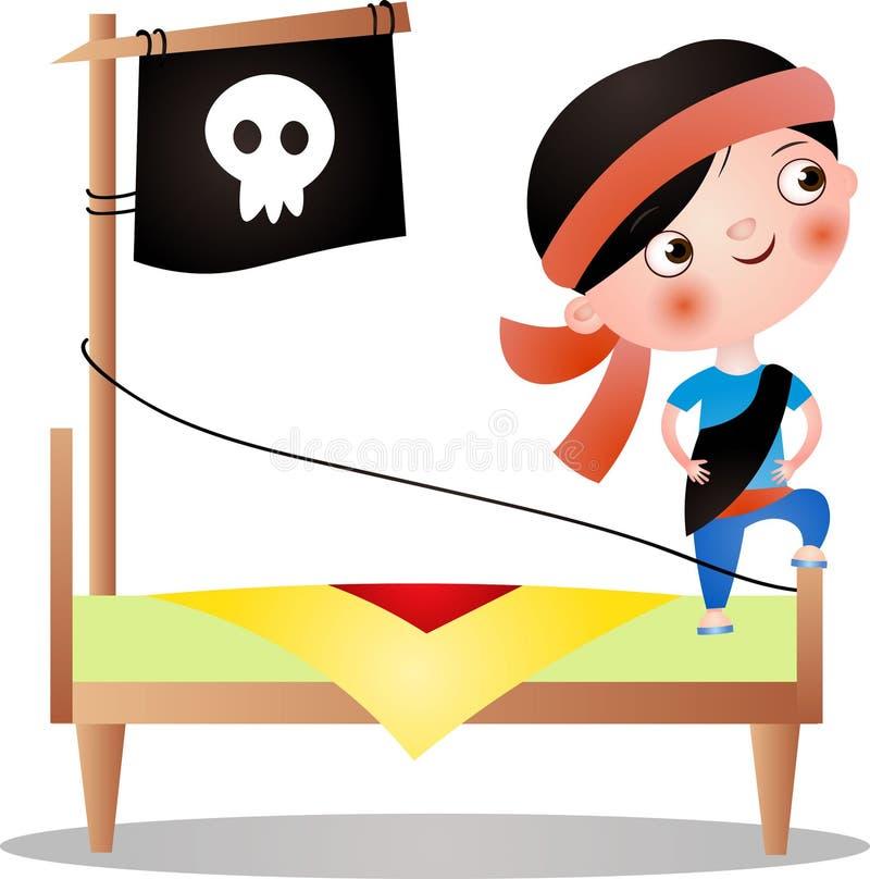 Śliczna młoda chłopiec z czerwonym zespołem robi pirata ilustracji