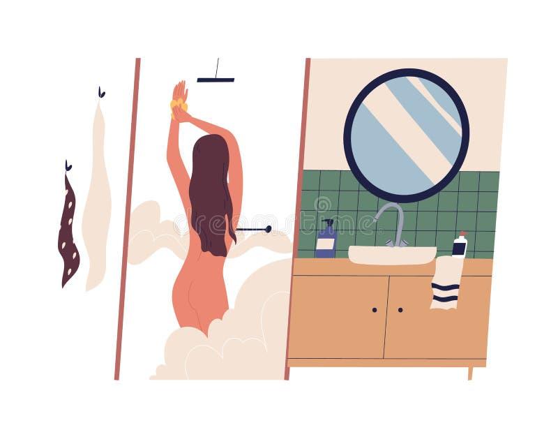 Śliczna młoda naga kobieta bierze prysznic i lathering jej ciało Żeński postaci z kreskówki domycie w łazience Dzienna rutyna ilustracji