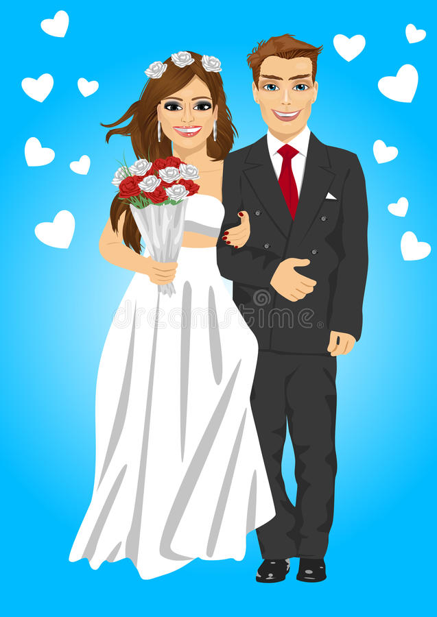 Śliczna młoda para małżeńska pozuje trzymający bukieta ono uśmiecha się ilustracji