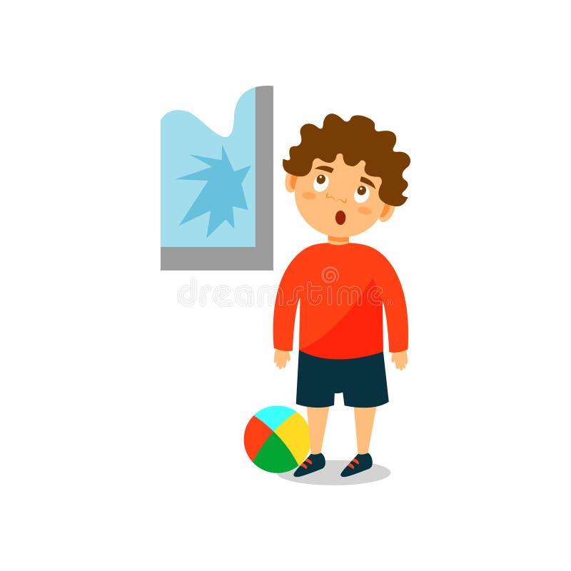 Śliczna mała łobuz chłopiec rozbijał okno z balową wektorową ilustracją na białym tle ilustracji