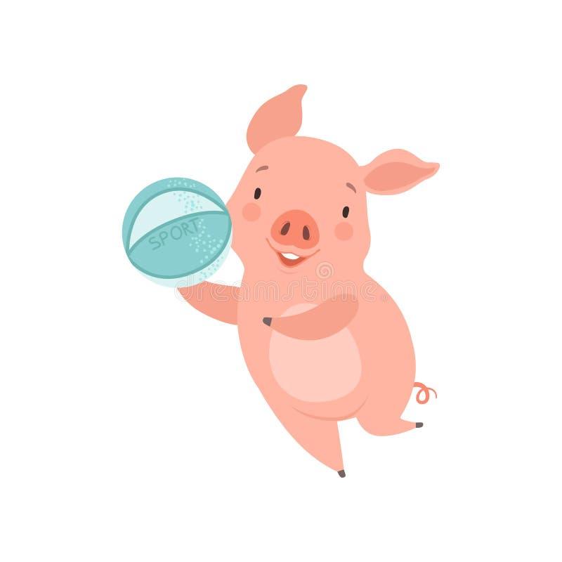 Śliczna mała świnia bawić się z piłką, śmieszny prosiaczka postać z kreskówki ma zabawy wektorową ilustrację na białym tle ilustracji