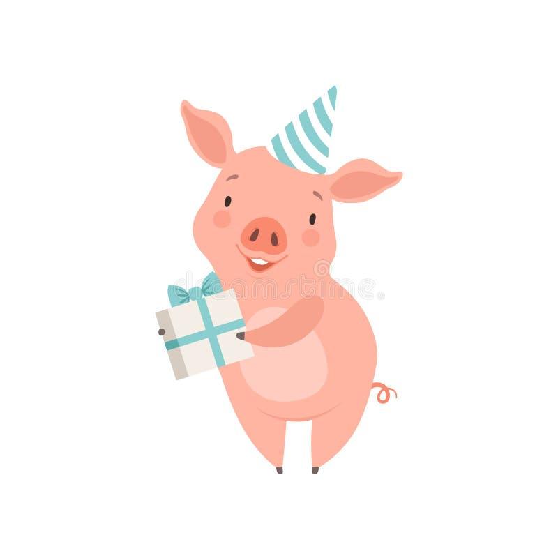 Śliczna mała świnia w partyjnym kapeluszowym mienie prezenta pudełku, śmiesznego prosiaczka postać z kreskówki wektorowa ilustrac ilustracja wektor